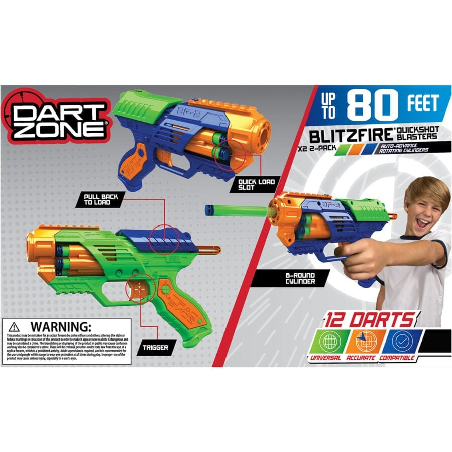 Back of the Box View of the BlitzFire X2 Quickshot High Power Toy Foam Dart Blasters 2-Pack