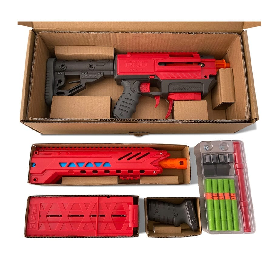 Unpacked View of the Boxed Dart Zone® Pro MK 1.1 High Power Toy Foam Blaster