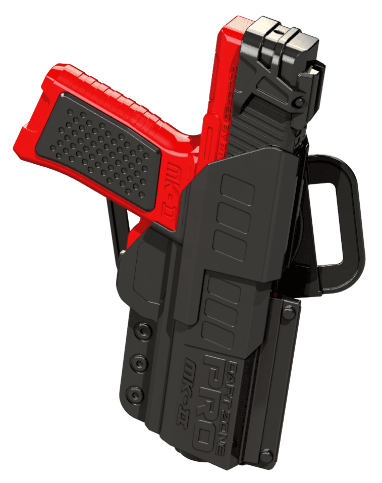 Holstered View of the Pro Series MK-2 High Power Toy Foam Dart Blaster