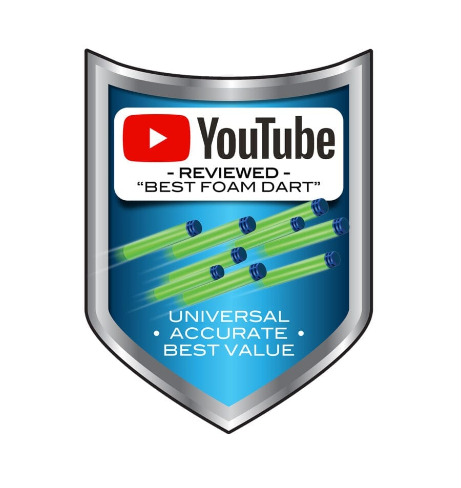 YouTube Reviewed Badge for the 300 Dart Refill Pack Waffle Tipped Foam Darts for High Powered Toy Blasters
