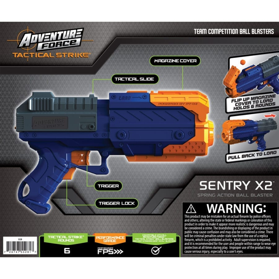 Back of the Box View for the Adventure Force Sentry X2 High Power Tactical Strike Foam Ball Blaster