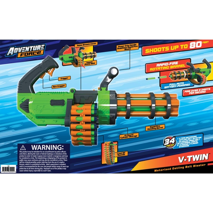 Back of the Box View of the Adventure Force V-Twin High Power Automatic Motorized Toy Foam Gatling Belt Dart Blaster