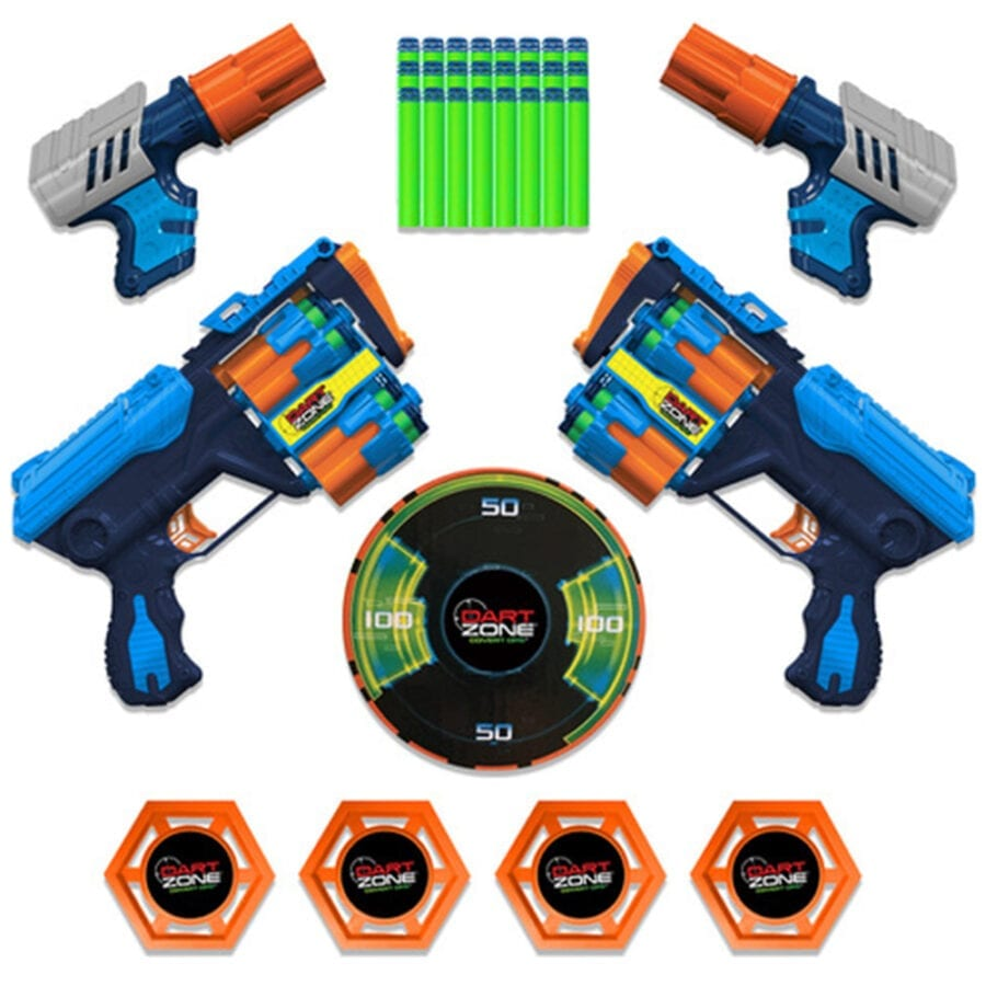 All Items Included in the High Power Toy Foam Commando Iconic 4 Turbo Pack Blasters with Waffle Tip Darts