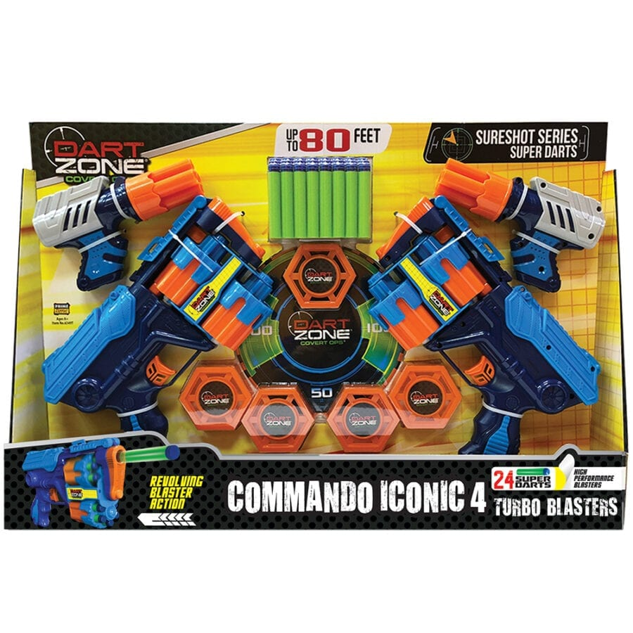 Box View of the High Power Toy Foam Commando Iconic 4 Turbo Pack Blasters with Waffle Tip Darts