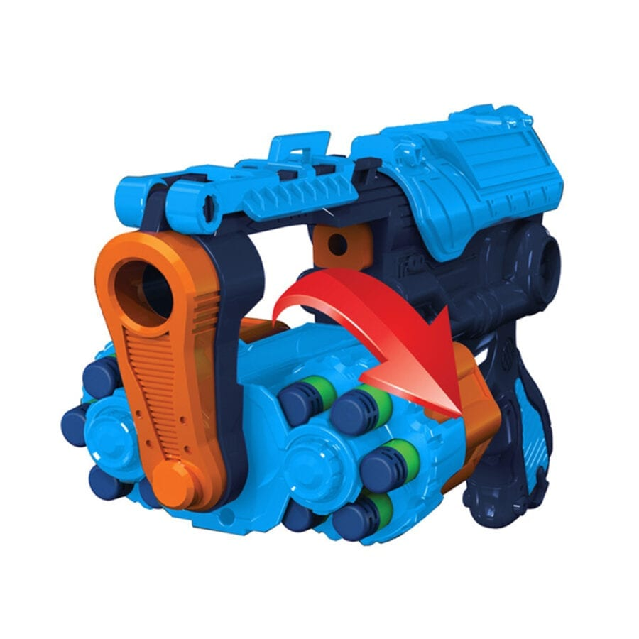 Large Rotating Pistol Action in the High Power Toy Foam Commando Iconic 4 Turbo Pack Blasters with Waffle Tip Darts
