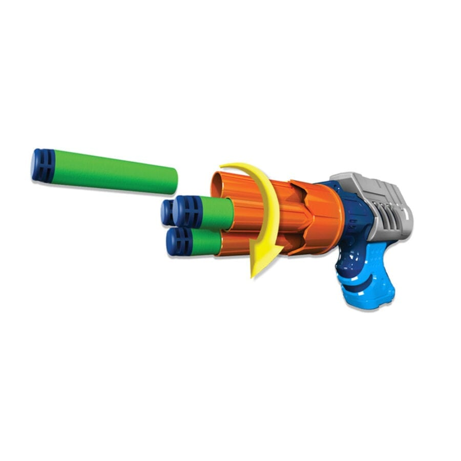 Small Rotating Pistol Action in the High Power Toy Foam Commando Iconic 4 Turbo Pack Blasters with Waffle Tip Darts