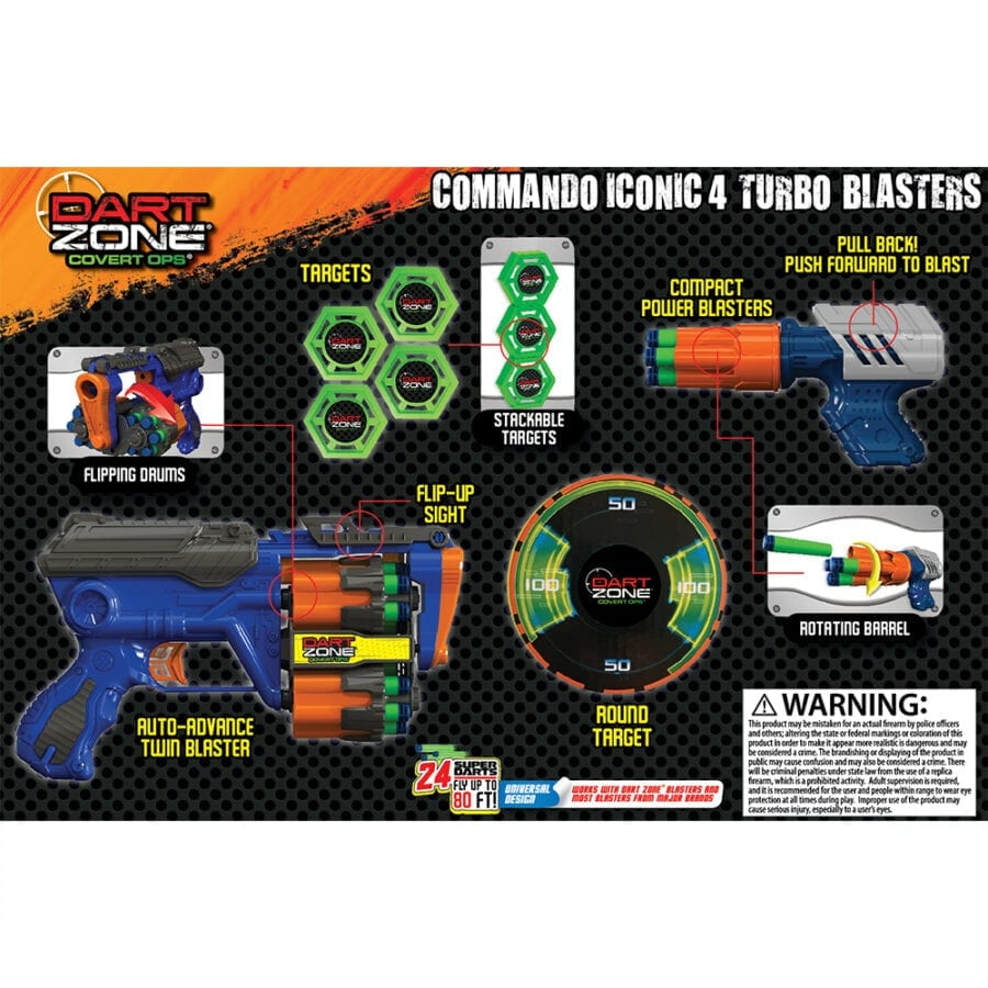Back of the Box View of the High Power Toy Foam Commando Iconic 4 Turbo Pack Blasters with Waffle Tip Darts