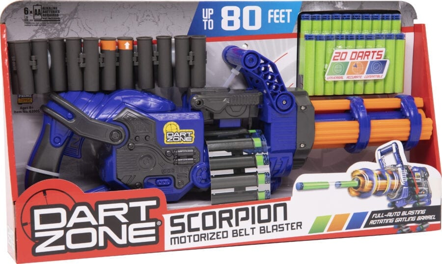 Diagonal Box View of the Scorpion High Power Automatic Belt Fed Toy Rotating Barrel Gatling Blaster