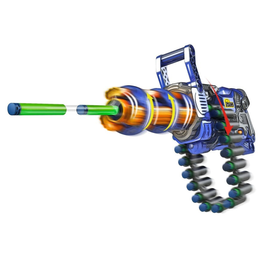 The Scorpion High Power Automatic Belt Fed Toy Rotating Barrel Gatling Blaster in Action