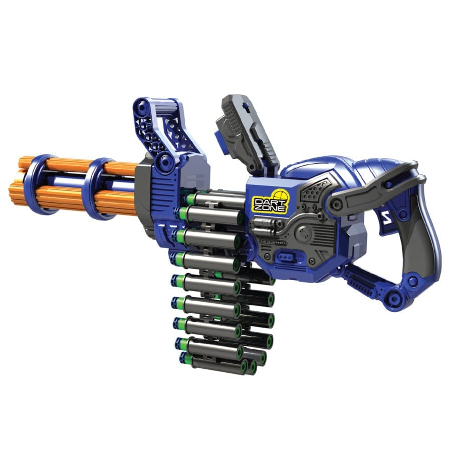Reloading Action of the Scorpion High Power Automatic Belt Fed Toy Rotating Barrel Gatling Blaster