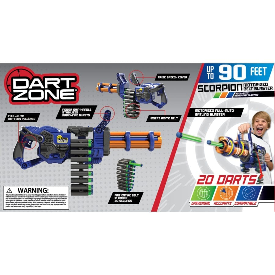 Back of the Box View of the Scorpion High Power Automatic Belt Fed Toy Rotating Barrel Gatling Blaster