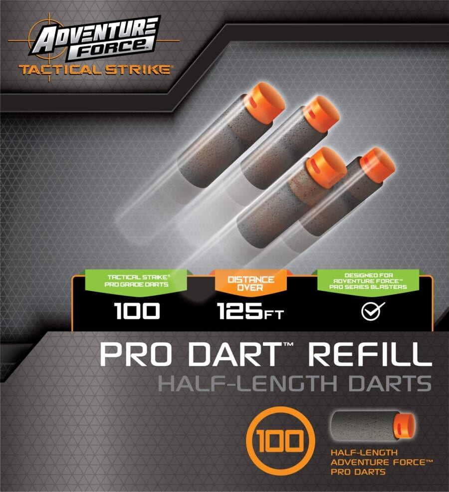 Back of the Box of the Adventure Force 100 Toy Foam Half-Length Pro Dart Refill for High Power Toy Blasters