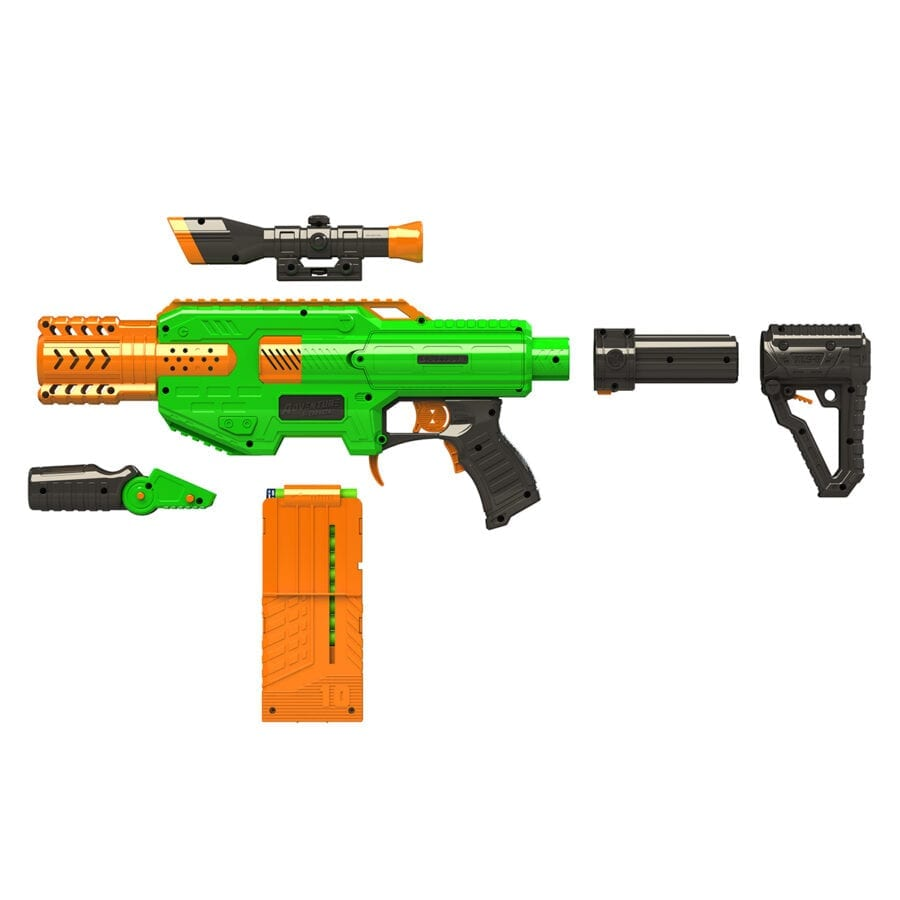 All Parts Included in the Adventure Force Spectrum Automatic Motorized High Power Clip-Fed Toy Foam Dart Blaster
