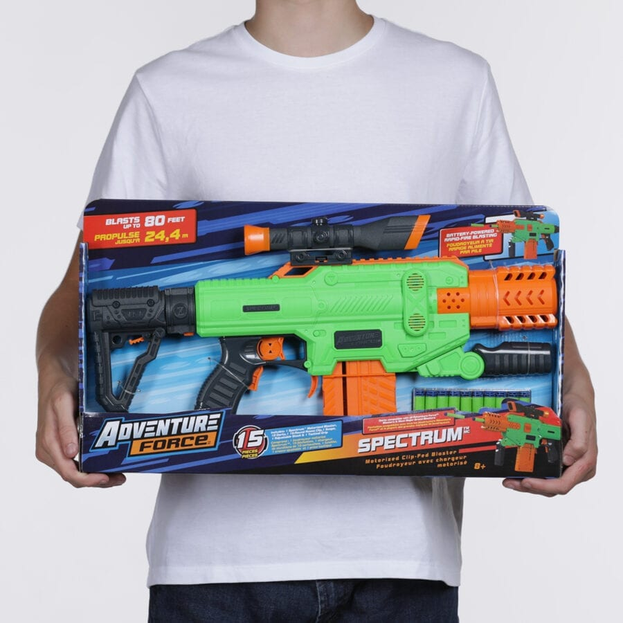 Held Box View of the Adventure Force Spectrum Automatic Motorized High Power Clip-Fed Toy Foam Dart Blaster
