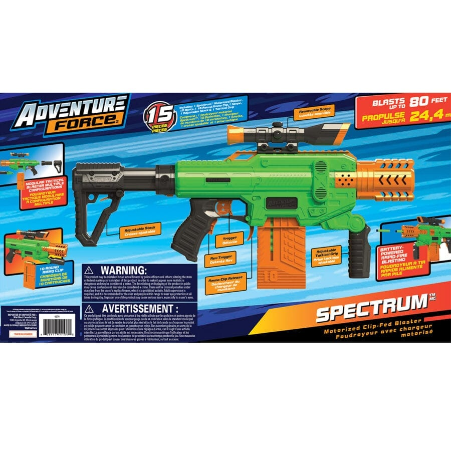 Back of the Box View of the Adventure Force Spectrum Automatic Motorized High Power Clip-Fed Toy Foam Dart Blaster