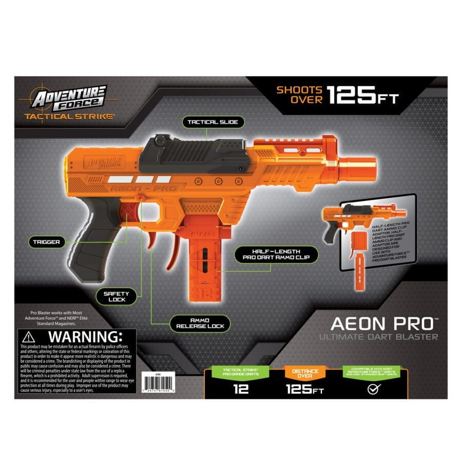 Back of the Box View of the Adventure Force Aeon Pro Ultimate High Power Toy Foam Dart Blaster