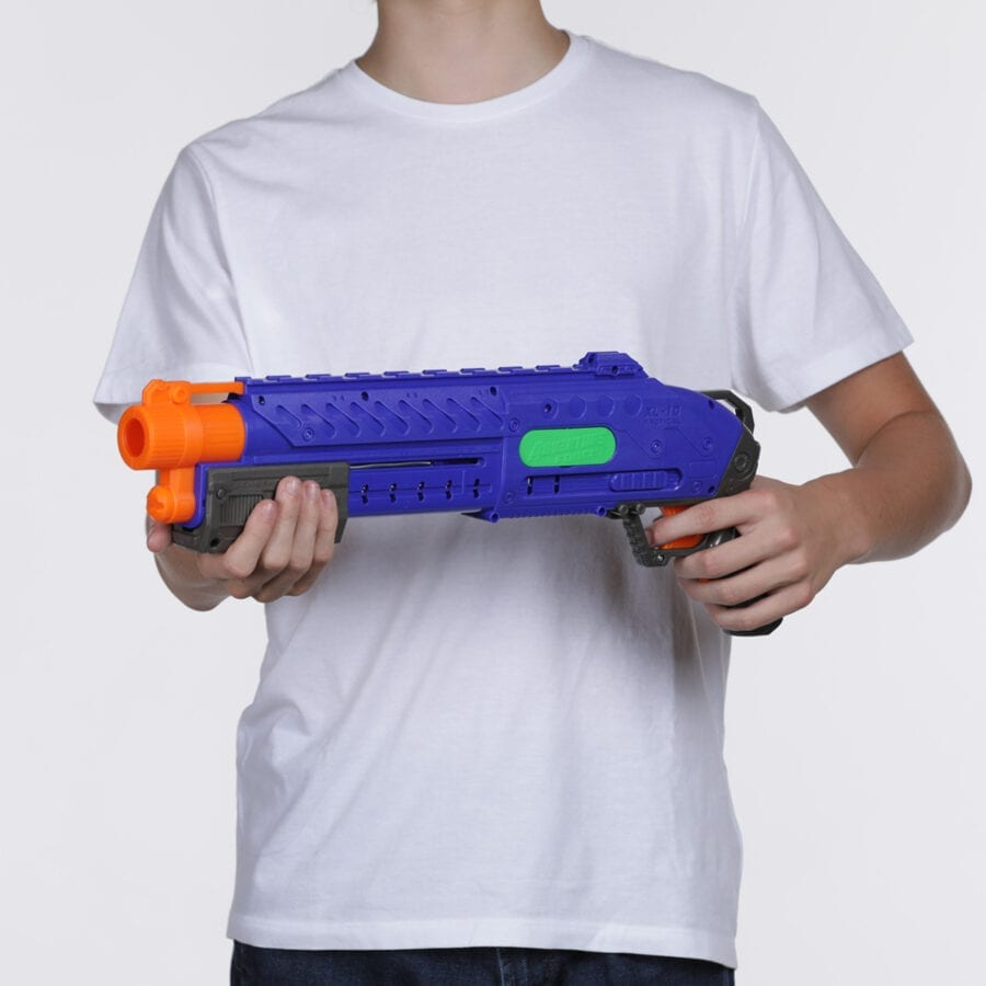 Held View of the Adventure Force Liberator Tactical Strike High Power Toy Foam Ball Blaster