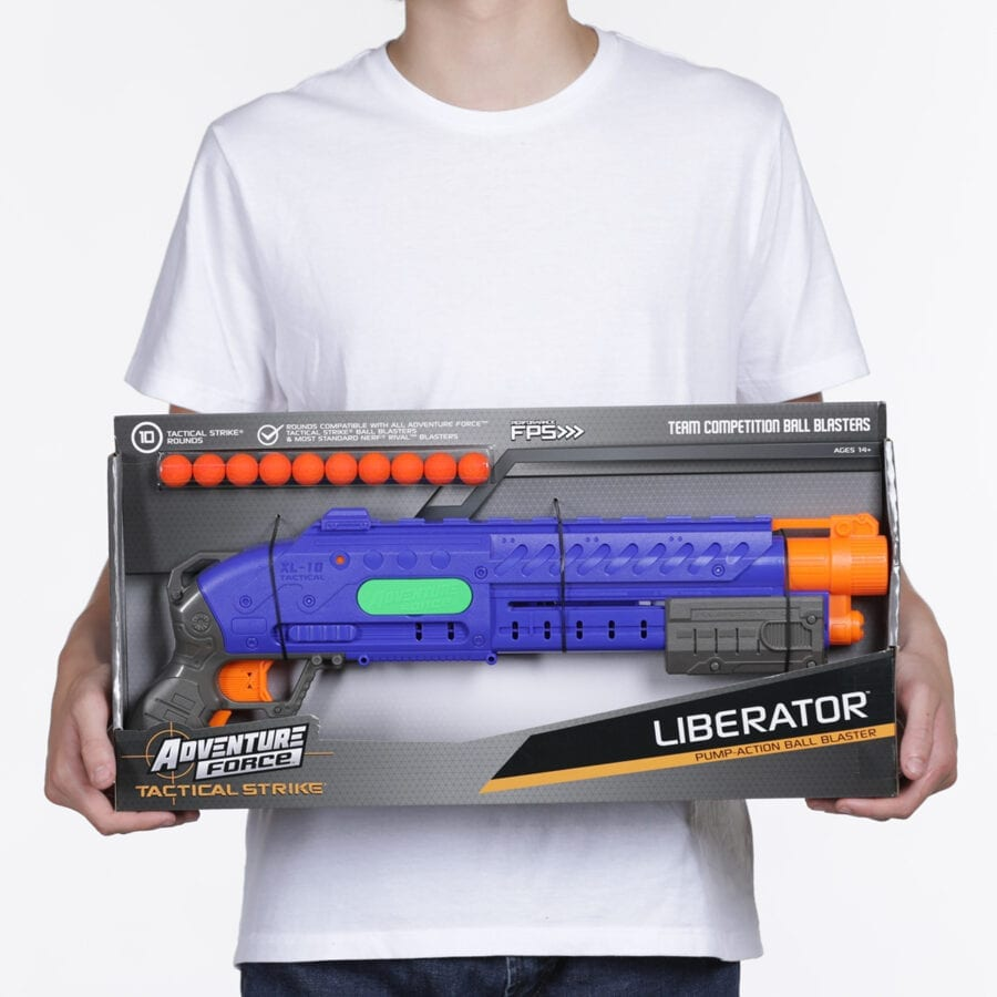 Held Box View of the Adventure Force Liberator Tactical Strike High Power Toy Foam Ball Blaster