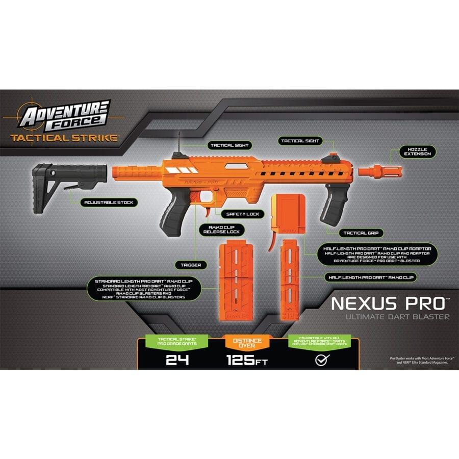Back of the Box View of the Adventure Force Nexus Pro Ultimate High Power Toy Foam Dart Blaster