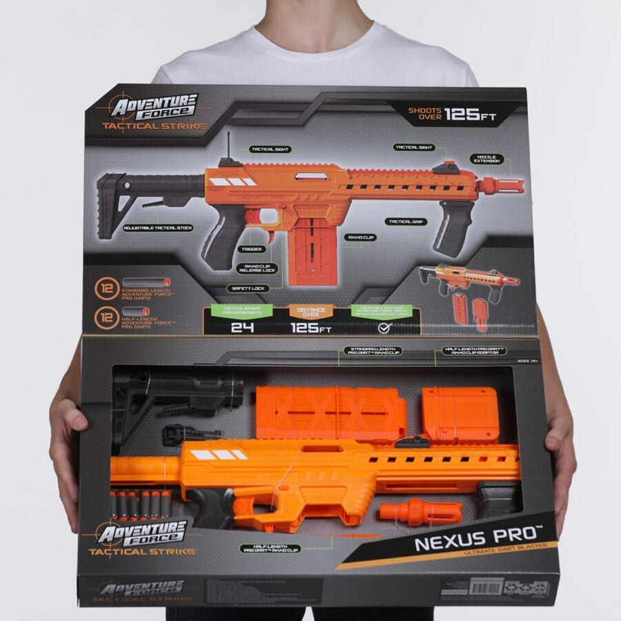 Opened Box View of the Adventure Force Nexus Pro Ultimate High Power Toy Foam Dart Blaster