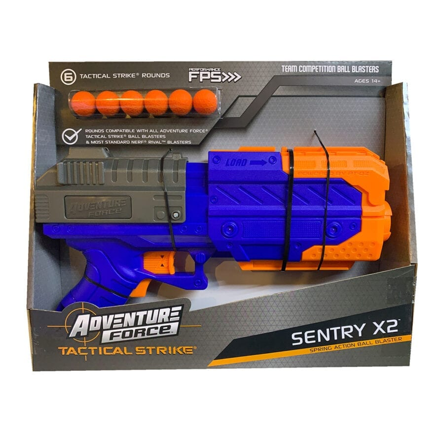 Box View of the Adventure Force Sentry X2 High Power Tactical Strike Foam Ball Blaster