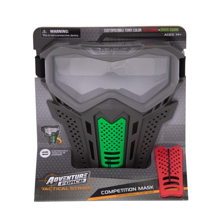 Front of the Box View of the Adventure Force Tactical Strike Mask for High Power Team Competition