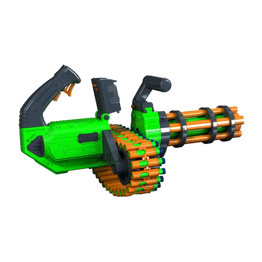 Back Diagonal View of the Adventure Force V-Twin High Power Automatic Motorized Toy Foam Gatling Belt Dart Blaster