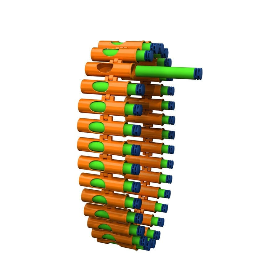 Belts and Waffle Tip Darts Included in the Adventure Force V-Twin High Power Automatic Motorized Toy Foam Gatling Belt Dart Blaster