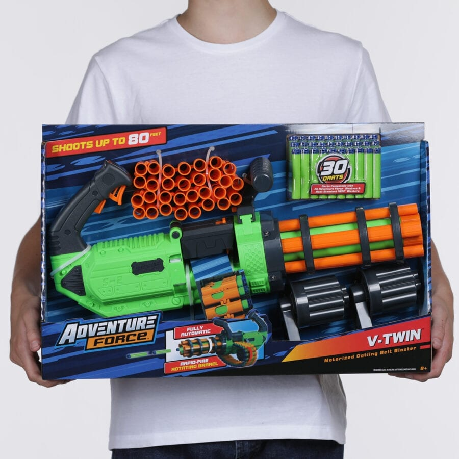 Held Box View of the Adventure Force V-Twin High Power Automatic Motorized Toy Foam Gatling Belt Dart Blaster