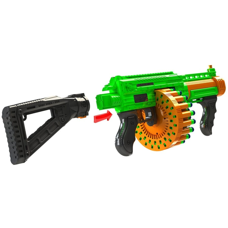 Detachable Stock included in the Adventure Force Villainator High Power Submachine Toy Foam Pump Action SuperDrum Dart-Blaster