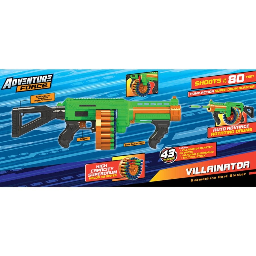 Back of the Box View of the Adventure Force Villainator High Power Submachine Toy Foam Pump Action SuperDrum Dart-Blaster