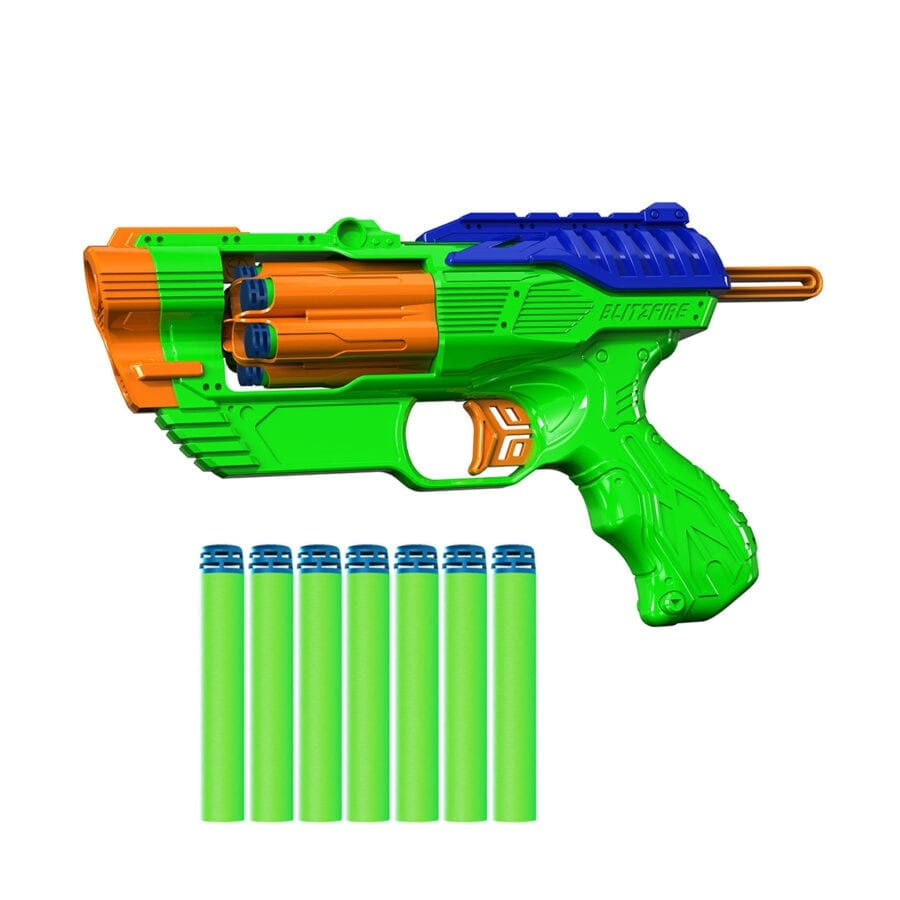 Side View of the Dart Zone High Power Toy Foam Blitzfire Quickshot Dart Blaster Automatic-Advance Rotating Cylinder With Waffle Tip Darts