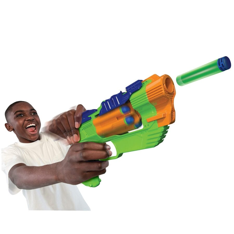 The Dart Zone High Power Toy Foam Blitzfire Quickshot Dart Blaster Automatic-Advance Rotating Cylinder With Waffle Tip Darts in Action