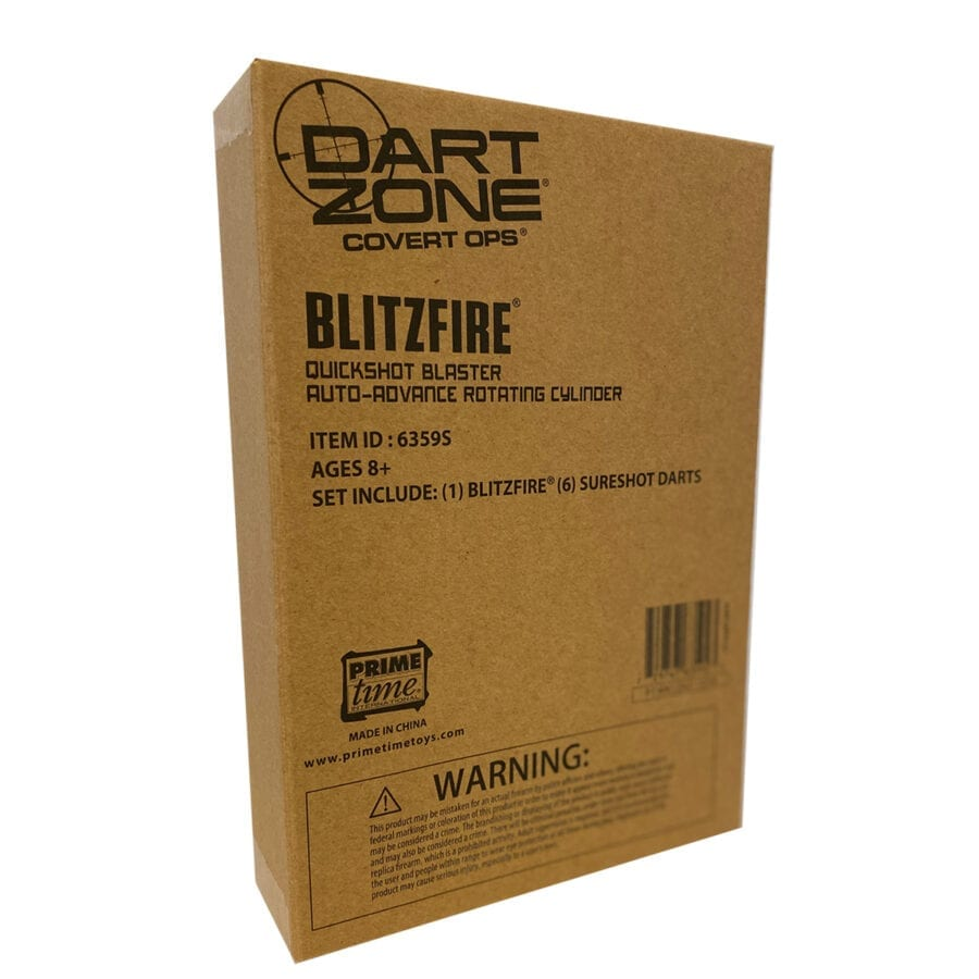 Box View of the Dart Zone High Power Toy Foam Blitzfire Quickshot Dart Blaster Automatic-Advance Rotating Cylinder With Waffle Tip Darts