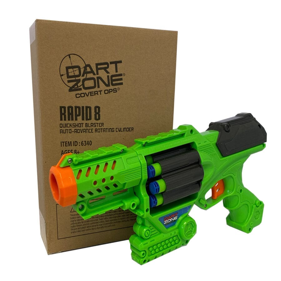 Box View of the Rapid-8 Quickshot High Power Auto Advance Rotating Toy Foam Dart Blaster With Waffle Tip Darts