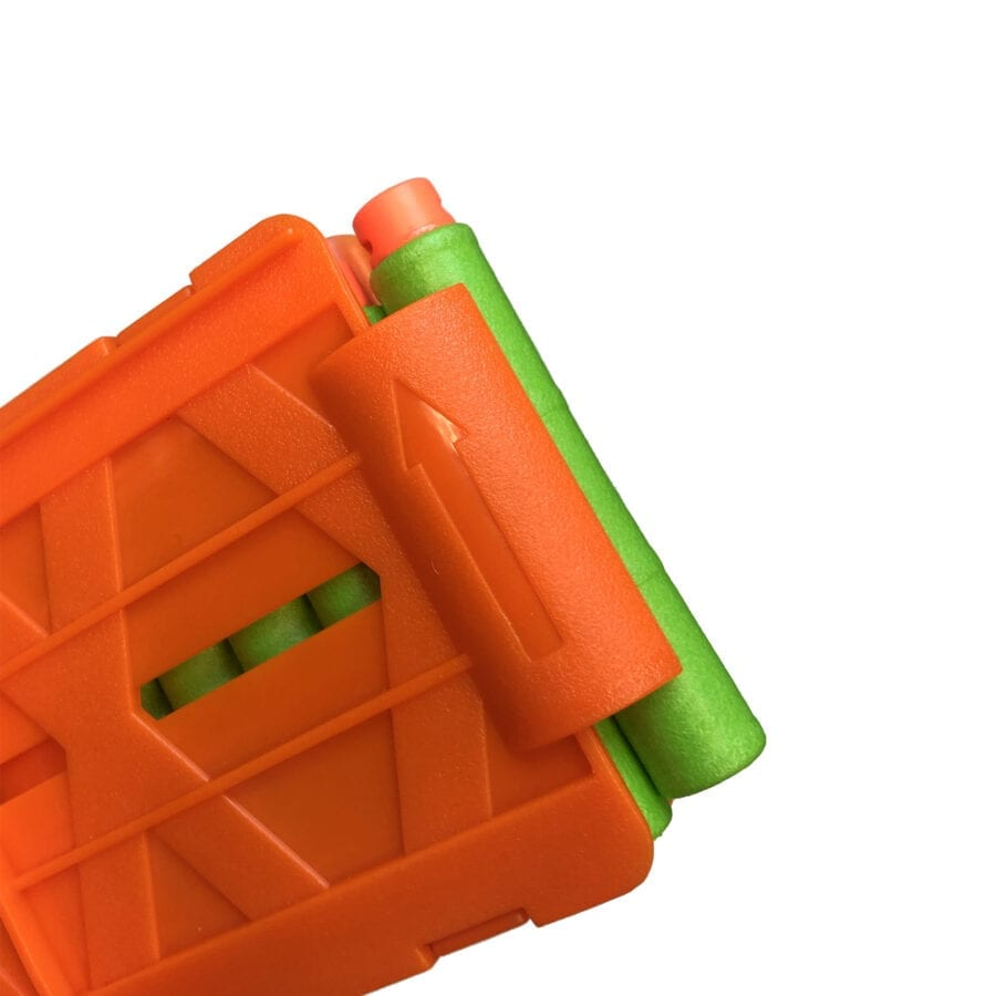 Diagonal View of the Pro Standard-Length Magazines for High Power Toy Foam Dart Blasters With Darts