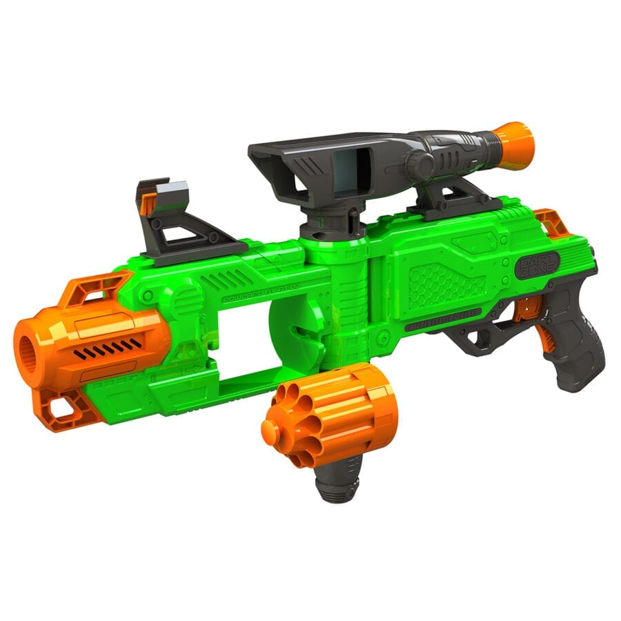 Reloading Action of the Cornershot™ Motorized Automatic High Power Toy Foam Dart Blaster