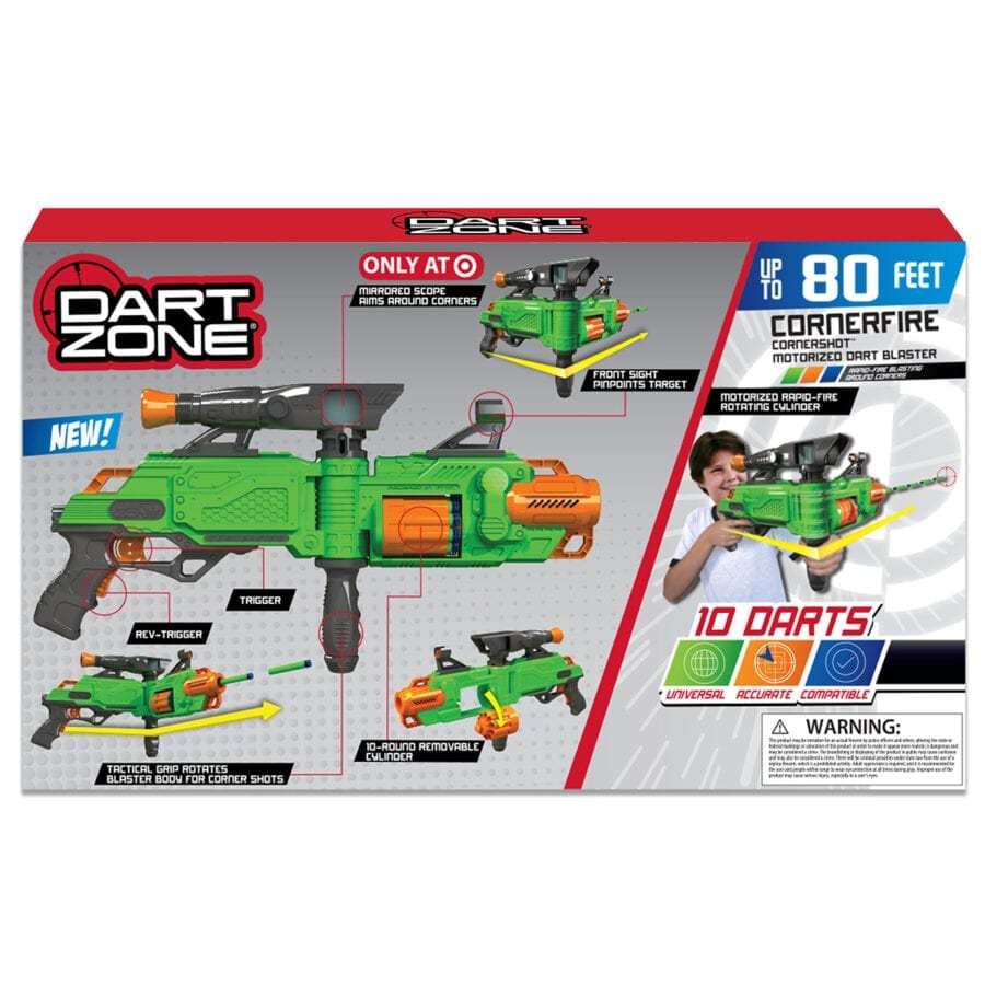 Back of the Box View of the Cornershot™ Motorized Automatic High Power Toy Foam Dart Blaster