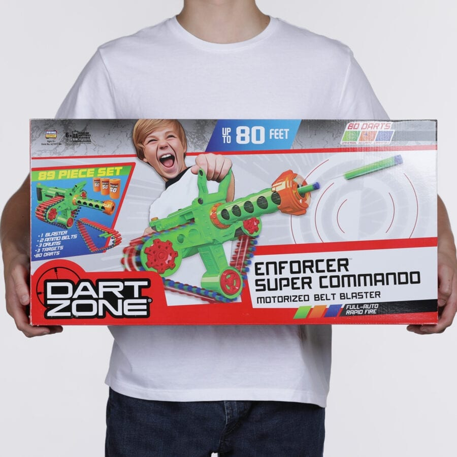 Box View of the Automatic High Power Belt Fed Toy Foam Enforcer Super Commando Dart Blaster With Waffle Tip Darts and Targets