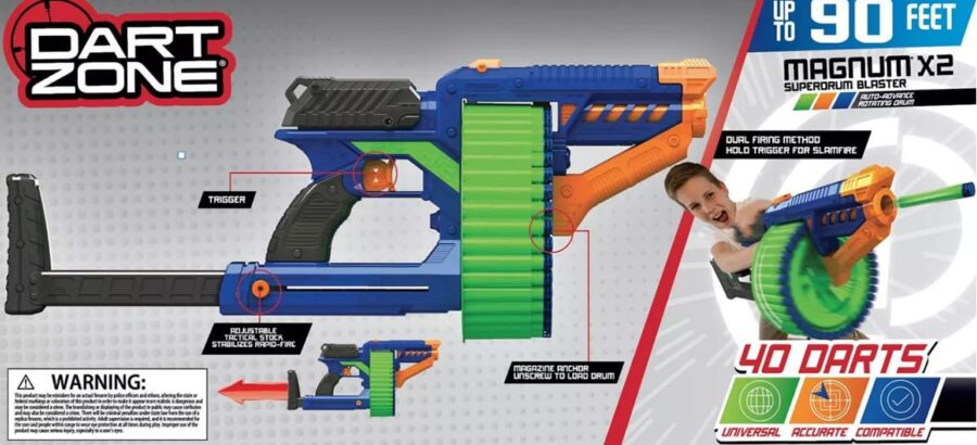 Back of the Box View of the Magnum X2 High Power Superdrum Toy Foam Dart Blaster