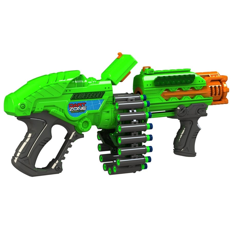 Reloading Action of the Powerbolt X High Power Belt Fed Toy Foam Dart Blaster with Waffle Tip Darts