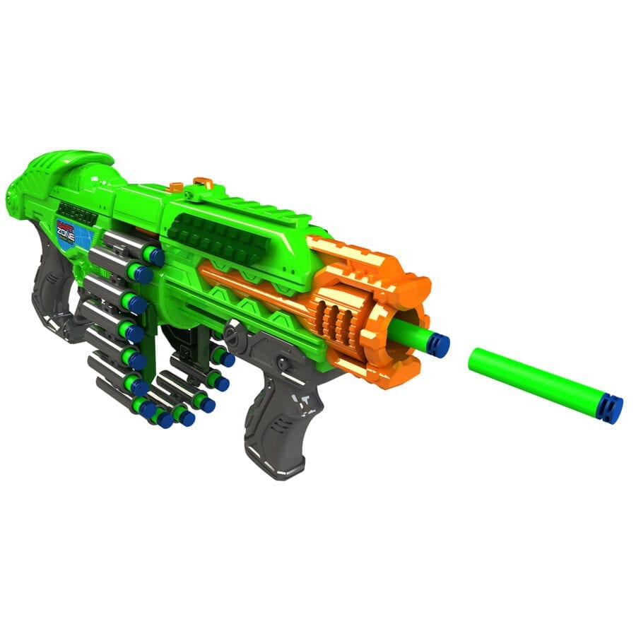 The Powerbolt X High Power Belt Fed Toy Foam Dart Blaster with Waffle Tip Darts in Action