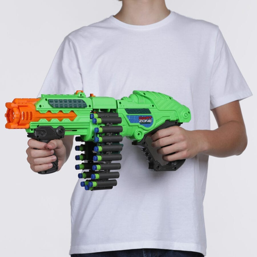 Held View of the Powerbolt X High Power Belt Fed Toy Foam Dart Blaster with Waffle Tip Darts