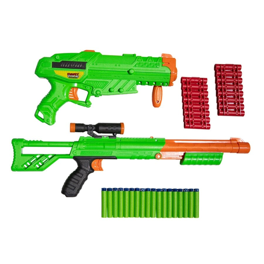 All Parts included in the High Power Toy Foam Rampage Performance Dart Blaster 2 Pack Set with Waffle Tip Darts