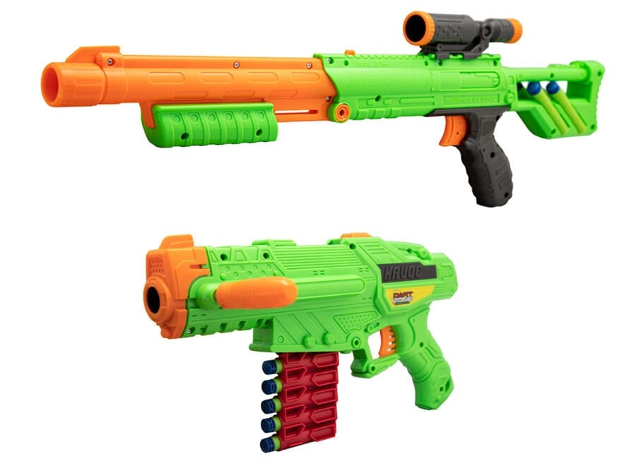 High Power Toy Foam Rampage Performance Dart Blaster 2 Pack Set with Waffle Tip Darts