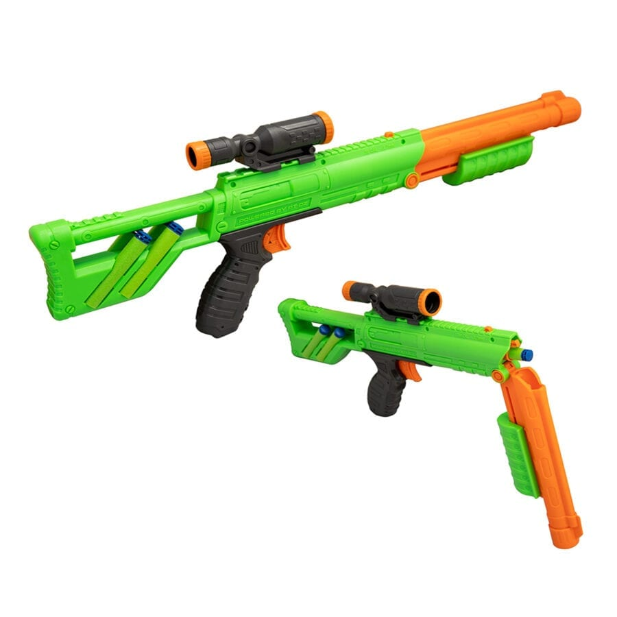 Reloading Action of the Rifle Blaster included in the High Power Toy Foam Rampage Performance Dart Blaster 2 Pack Set with Waffle Tip Darts