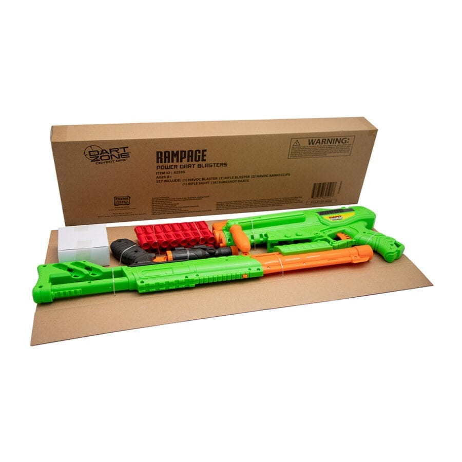 Boxed View of the High Power Toy Foam Rampage Performance Dart Blaster 2 Pack Set with Waffle Tip Darts