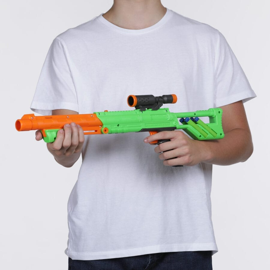 Held View of the Rifle Blaster included in the High Power Toy Foam Rampage Performance Dart Blaster 2 Pack Set with Waffle Tip Darts