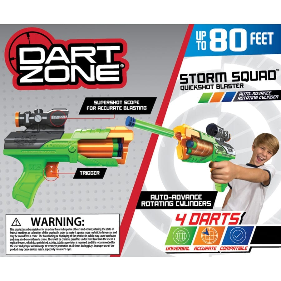 Back of the Box View of the Storm Squad Quickshot High Power Toy Foam Dart Blaster In Action