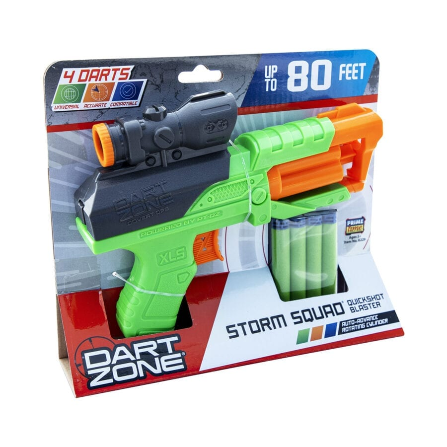Front Box View of the Storm Squad Quickshot High Power Toy Foam Dart Blaster In Action